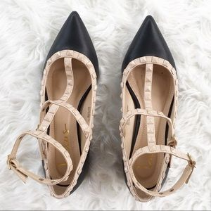 NWOT Lulus Black Beige Flats With Studs and Buckle
